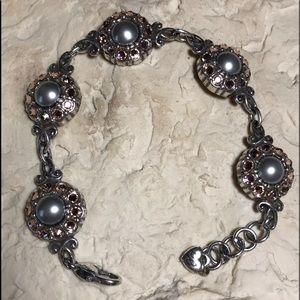 Brighton grey Pearl bracelet w pink stones